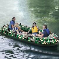 Camouflage 4 Inflatable 4 Person Floating Boat Raft Set with Oars & Air Pump