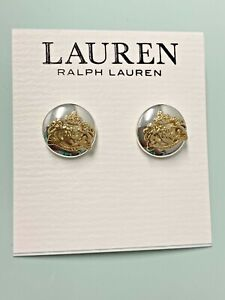 NEW Lauren Ralph Lauren Silver/Gold Tone Crest Crown Stud Earrings RLL  Logo