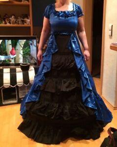 blau/schwarzes Lolita-Kleid mit Reifrock und Kleidersack