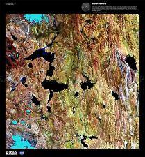 Carte de la science satellite Himalaya Tibet lac vieux grand imprimé Poster Repro pam1545