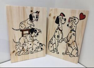 Wooden Handcrafted Plaque Dalmatian Design Wall Hanging Unique Gift Dog Set 2