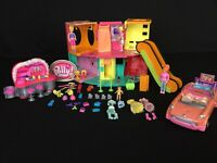 Polly Pocket Lot Designer Mall Playset, Figures, Dresses, & Stretch Limo W/ Pool