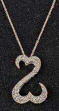 14K JANE SEYMOUR OPEN HEART WHITE GOLD .50 CTW DIAMOND PENDANT & 20 INCH CHAIN !