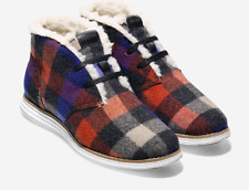 Womens NEW COLE HANN Plaid Grand Wool Sherpa lined Chucka Boots Size 6.5  $230