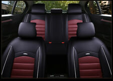 Universal Car Seat Cover 5-Seats PU Leather Full Set Front+Rear Cushion W/Pillow