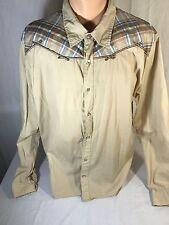 Buffalo David Bitton Men's XL Tan Shirt  Button Up Plaid  L/S