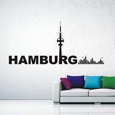 WANDTATTOO Wandaufkleber Skyline Hamburg Musik Sound Equalizer Wohnzimmer 566