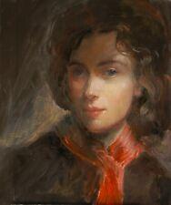Original Oil . Portrait The Red Scarf
