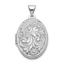 14k White Gold Polished Reversible Love You Always Oval Locket 30mmx21mm