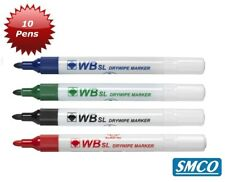 10 Dry Wipe Bullet Tip White Board Marker Pens Black Blue Red Green Wipes Clean