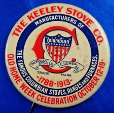"1913 The Keeley Stove Co. Advertisement Pin Pinback Button 2"" Whitehead & Hoag"