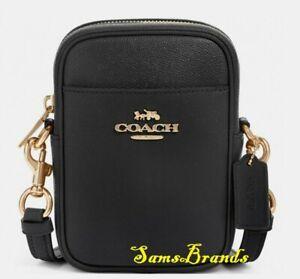 NWT Coach F80589 Crossgrain Leather Phoebe Top Zip Crossbody in Black