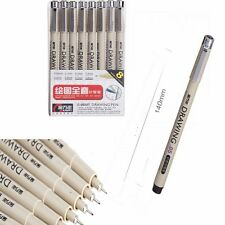 Black Art Fineliner Technical Graphic Drawing Ink Rollerball Marker Pen *8 Set
