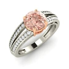 1.17 Ct Certified Morganite & Real Diamond 14k Solid White Gold Engagement Ring