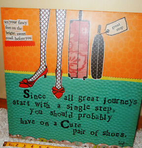 """Huge 16""""x16"""" Curly Girl Design Canvas Demdaco Wall Hanging Cute Shoes Great Gift"""