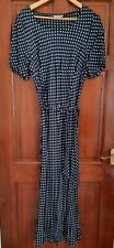 Marks And Spencer Navy Blue And White Polka Dot Dress Size 18