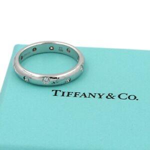TIFFANY AND CO. PLATINUM ROUND BRILLIANT DIAMOND ETOILE RING SIZE 8 #D3728-1