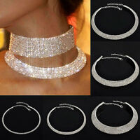 Women's Charming Crystal Rhinestone Collar Choker Necklace Wedding Party Jewelry