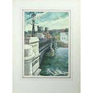 Signed Unframed Sixties Watercolour Painting Noel Shepherdson Windsor 38 x 26cm