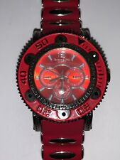 Techno King Mens Fashion Watch. New Battery. Red Silicone Band.