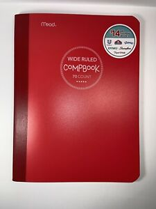 Mead Wide Ruled Composition Book Plastic Red Cover 70 Page Count
