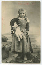c 1908 Child Children Cute GIRL w/ DOLL antique French photo postcard