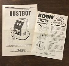 Radio Shack Dustbot Robot Robie Robotic Banker Original Owners Manuals 1988 1994