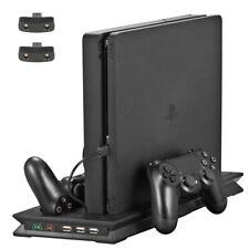 Für PS4 Slim Vertikaler Ständer mit 2 Kühlerlüfter Dual Controller Ladestation