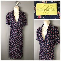 BNWT Classic Navy Floral Retro Dress UK 24 EUR 52