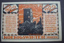 Notgeld-Schein 1924: Königswinter Rhein Westfalen 50 Pfg Burggraf Drachenfels
