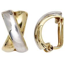 NEU Damen Ohrclips Bicolor Ohrringe 333 echt Gold 333er 2-farbig Clips Silber
