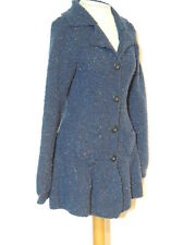 Laurie B. Boucle Navy Tweed Sweater w Ruffled / Flared Bottom sz M