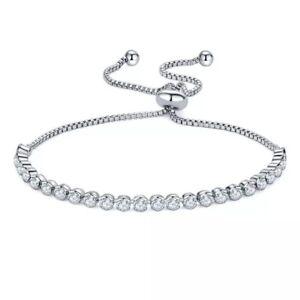 Adjustable Silver Tennis Friendship Bridesmaid Bracelet Cubic Zirconia Crystal