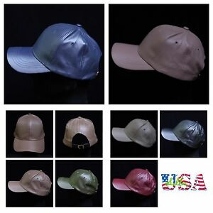 Women's Faux Leather Baseball Cap Solid Hat Plain Sports Casual Fashion Caps