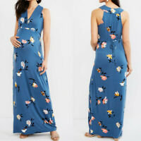 Women Maternity Pregnancy Nursing Summer Casual Floral Sundress Veat Long Dress