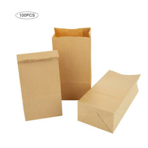 100pcs Packaging Paper Bread Bag Lunch Snack Bag Takeout Bags Kraft Paper Khaki