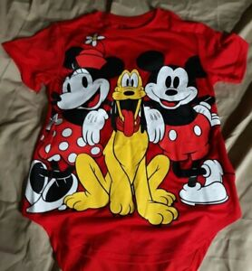 Disney T-Shirt XS/XCH Red Mickey Mouse Minnie Mouse Pluto T-Shirt