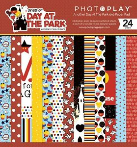 """Photoplay Paper """"Another Day At The Park"""" 6x6 Paper Pad 24 Sheets Disney"""