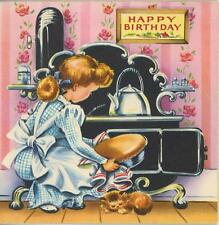 VINTAGE 1950's GIRL BAKER TEA KETTLE POT CAST IRON OVEN CAT COOK CHEF CARD PRINT