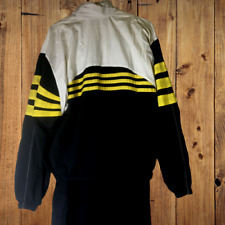 Adidas M Track Suit 3 Stripe 1990's Black w yellow & White. Nylon w Lining Zip