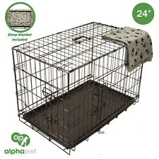New Small Alphapet Heavy Duty Dog Puppy Foldable Crate Cage Carrier And Blanket