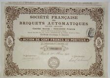 Société Française des Briquets Automatiques action de 100 Frs 1911
