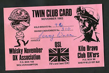 Dated 1983 QSL: Twin Club Card: Whisky November DX Association