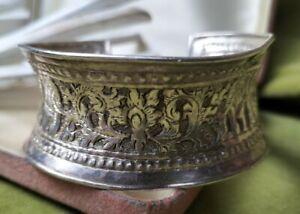 Vintage Carved wide Native Bracelet Cuff Sterling Silver