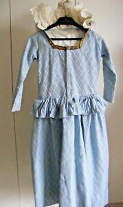 Vintage theatrical costume girls dress Elizabethan Tudor era pale blue lace coll
