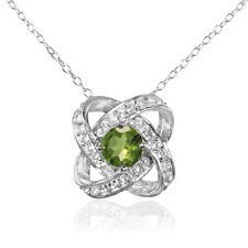 Sterling Silver Peridot and White Topaz Love Knot Necklace
