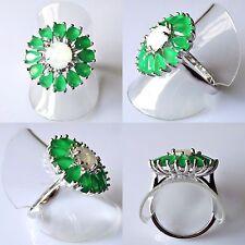 Klassischer Tropfen Smaragd Feueropal Cluster Ring 925 rhodiniert 19,1 mm