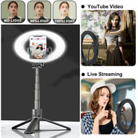 5'' LED Ringlicht Selfie Stick Stange Stativ Monopod Smartphone Handy Halterung