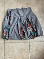 Matilda Jane Bubble Zipper Skirt Womens Brown With Flowers Size M Medium