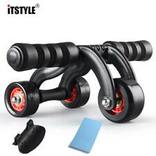 Three Wheels Abdominal Wheel Ab Roller with brake Mat Waist and Abdomen Fitness